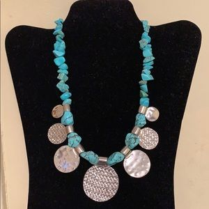 Turquoise silver disc necklace
